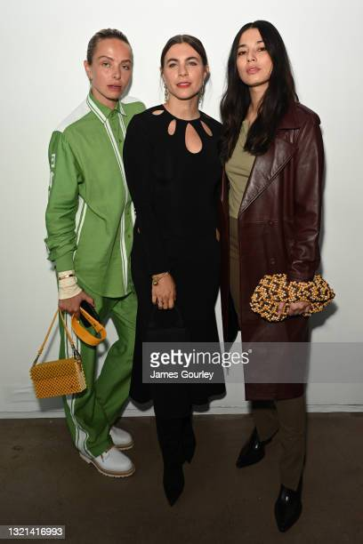 Anna Feller and Jessica Gomes attend the NON + show during Afterpay Australian Fashion Week 2021 Resort '22 Collections at Icebergs Dining Room and...