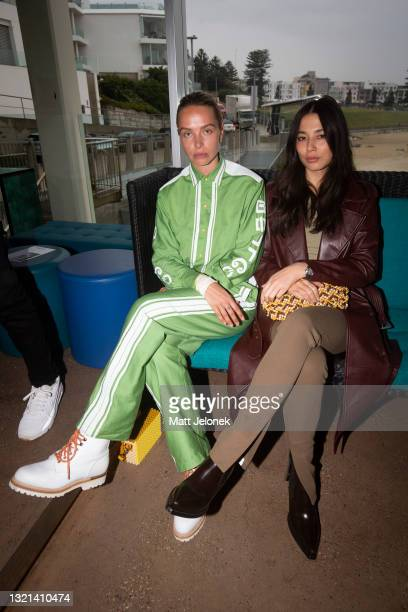 Anna Feller and Jessica Gomes attends the NON + show during Afterpay Australian Fashion Week 2021 Resort '22 Collections at Icebergs Dining Room and...