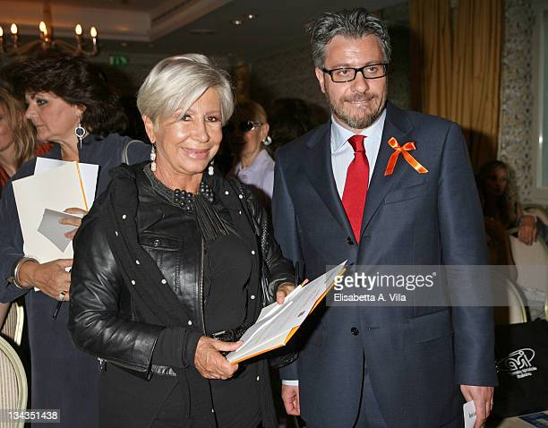 Anna Fendi and Damiano Rizzi President of Soleterre attend the auction Art For Peace in support of Soleterre Strategie di Pace charity organization...