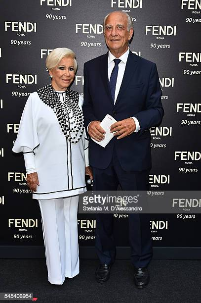 Anna Fendi and Giuseppe Tedesco attend the Fendi Roma 90 Years Anniversary Welcome Cocktail at Palazzo Carpegna on July 7 2016 in Rome Italy