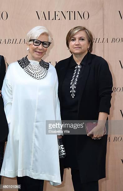 Anna Fendi and Silvia Venturini Fendi attend the Valentino 'Mirabilia Romae' haute couture collection fall/winter 2015 2016 at Piazza Mignanelli on...