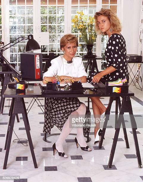Anna Fendi one of the five Fendi sisters head of the Fendi Italian luxury fashion house with his daughter Silvia Creative Director for Accessories...
