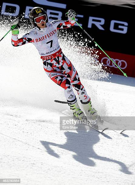 Anna Fenninger of Austria celebrates after crossing the finish of the Ladies' Giant Slalom in Red Tail Stadium on Day 11 of the 2015 FIS Alpine World...