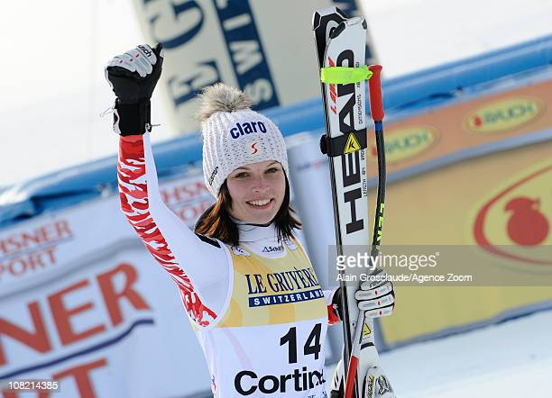 Anna Fenninger of Austria celebrates after the Audi FIS Alpine Ski World Cup Women's SuperG on January 21 2011 in Cortina d'Ampezzo Italy