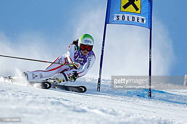 Anna Fenninger of Austria during the Audi FIS Alpine Ski World Cup Women's Giant Slalom on October 22 2011 in Soelden Austria
