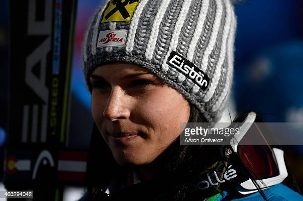 Anna Fenninger of Austria gives an interview after her win during the ladies' giant slalom FIS Alpine World Ski Championships 2015 on Thursday...