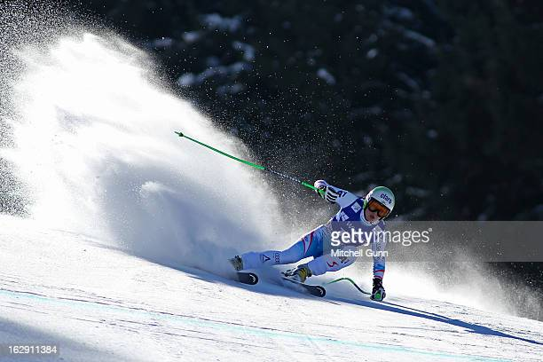 Anna Fenninger of Austria races down the course competing in the Audi FIS Ski World Cup Women's SuperG on March 01 2013 in Garmisch Partenkirchen...