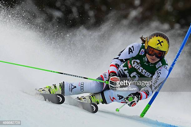 Anna Fenninger of Austria races down the course whilst competing in the FIS Alpine World Cup giant Slalom race on December 28, 2013 in Lienz, Austria.