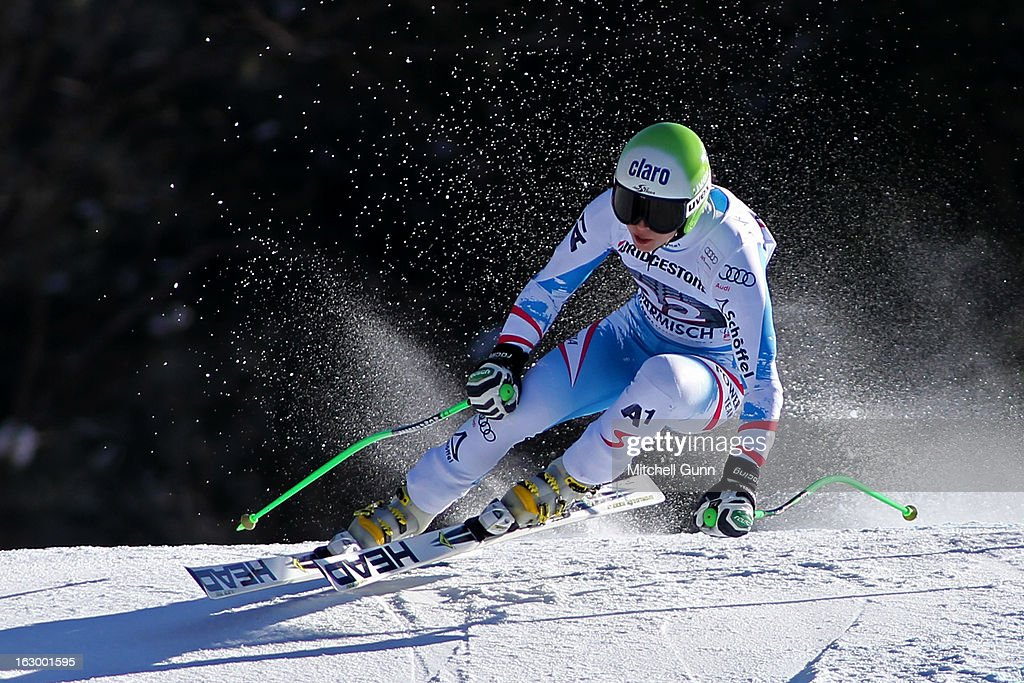 Anna Fenninger of Austria races down the hill whilst competing in the Audi FIS Ski World Cup Super-G on March 03, 2013 in Garmisch Partenkirchen, Germany,
