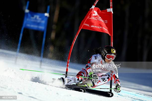 Anna Fenninger of Austria races during the Ladies' Giant Slalom on the Raptor racecourse on Day 11 of the 2015 FIS Alpine World Ski Championships on...