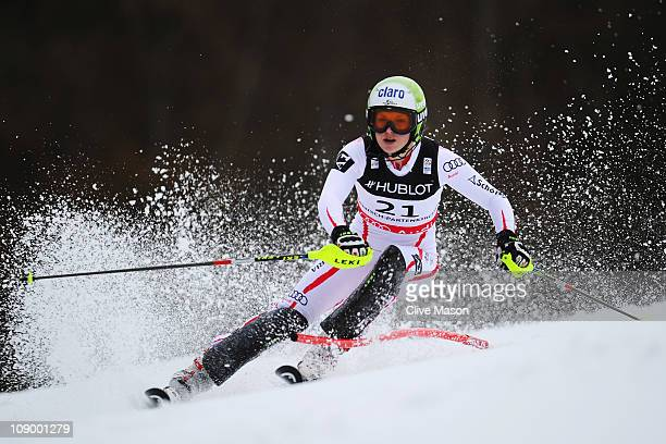 Anna Fenninger of Austria skis in the slalom on her way to winning the Women's Super Combined during the Alpine FIS Ski World Championships on the...