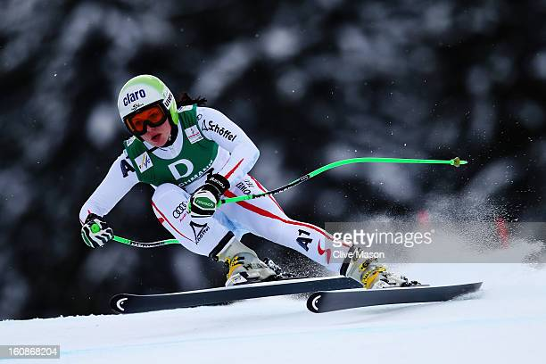 Anna Fenninger of Austria skis in the Women's Downhill Training during the Alpine FIS Ski World Championships on February 7 2013 in Schladming Austria