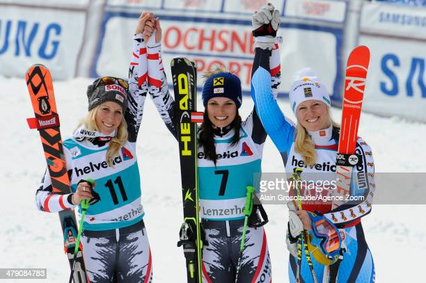 Anna Fenninger of Austria takes 1st place and wins the overall giant slalom World Cup globe EvaMaria Brem of Austria takes 2nd place Jessica...
