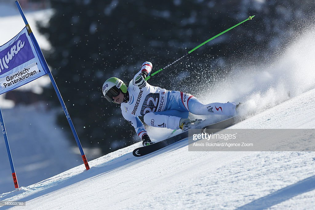 Anna Fenninger of Austria takes 1st place during the Audi FIS Alpine Ski World Cup Women's SuperG on March 03, 2013 in Garmisch-Partenkirchen, Germany.