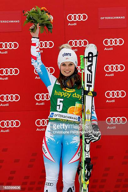 Anna Fenninger of Austria takes 1st place during the Audi FIS Alpine Ski World Cup Women's Giant Slalom on March 9 2013 in Ofterschwang Germany