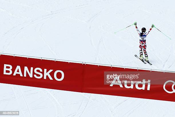Anna Fenninger of Austria takes 1st place during the Audi FIS Alpine Ski World Cup Women's Super Combined on March 01 2015 in Bansko Bulgaria