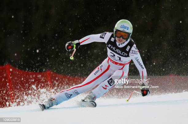 Anna Fenninger of Austria takes 1st place during the FIS Alpine World Ski Championships Women's Super Combined on February 11 2011 in...