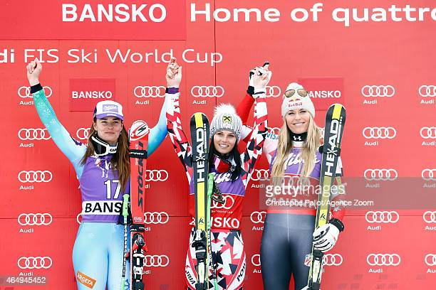 Anna Fenninger of Austria takes 1st place Tina Maze of Slovenia takes 2nd place Lindsey Vonn of the USA takes 3rd place during the Audi FIS Alpine...