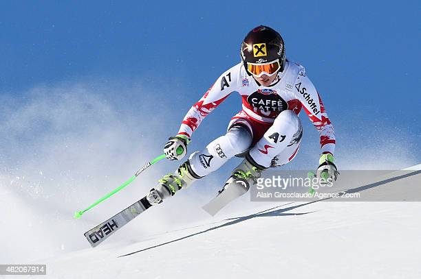 Anna Fenninger of Austria takes 2nd place during the Audi FIS Alpine Ski World Cup Women's Downhill on January 24 2015 in St Moritz Switzerland