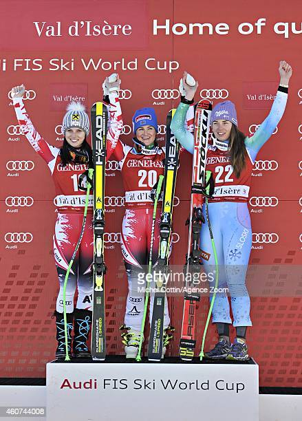 Anna Fenninger of Austria takes 2nd place Elisabeth Goergl of Austria takes 1st place Tina Maze of Slovenia takes 3rd place during the Audi FIS...