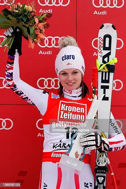 Anna Fenninger of Austria takes 3rd place during the Audi FIS Alpine Ski World Cup Women's SuperG on January 8 2012 in Bad Kleinkirchheim Austria