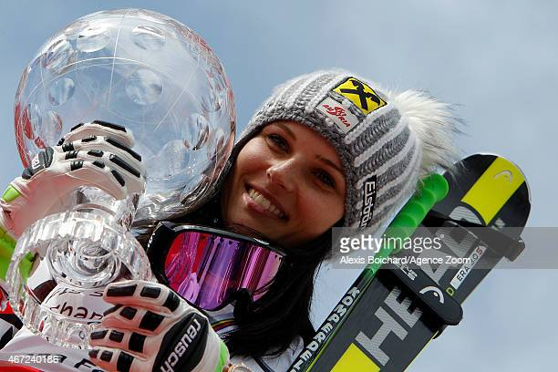 Anna Fenninger of Austria wins the overall World Cup globe during the Audi FIS Alpine Ski World Cup Finals on March 22 2015 in Meribel France