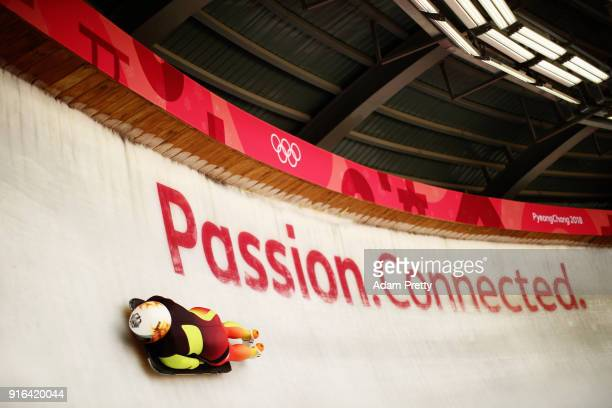 Anna Fernstadt of Germany slides during the Women's Skeleton training on day one of the PyeongChang 2018 Winter Olympic Games at Olympic Sliding...