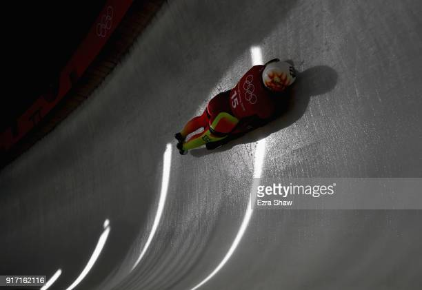 Anna Fernstaedt of Germany slides down the track during women skeleton training at Olympic Sliding Centre on February 12, 2018 in Pyeongchang-gun,...