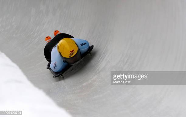 Anna Fernstaedtova of Czech Republic in action during the third heat for the Women's Skeleton on day nine of the BMW IBSF World Championships...