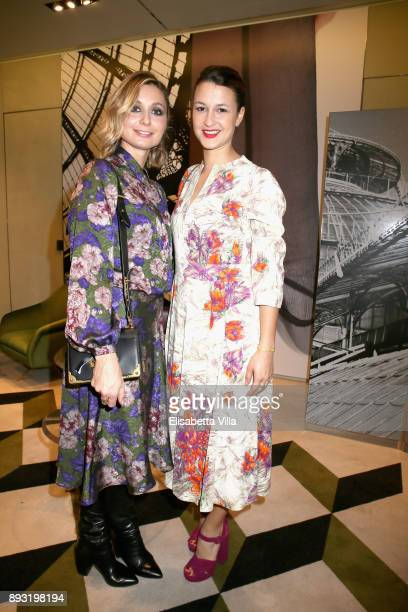 Anna Ferzetti and Alice Vicario attend the cocktail reception to present Prada Resort 2018 collection on December 14th 2017 in Prada's Via dei...