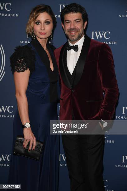 Anna Ferzetti and Pierfancesco Favino walk the red carpet for IWC Schaffhausen at SIHH 2018 on January 16 2018 in Geneva Switzerland