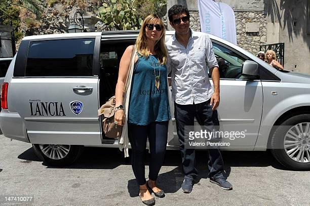 Anna Ferzetti and Pierfrancesco Favino arrive for the 2012 Nastri d'Ardento Awards on June 29 2012 in Taormina Italy