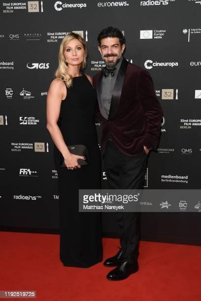 Anna Ferzetti and Pierfrancesco Favino wearing Brunello Cucinelli attend the 32nd European Film Awards at Haus Der Berliner Festspiele on December 07...