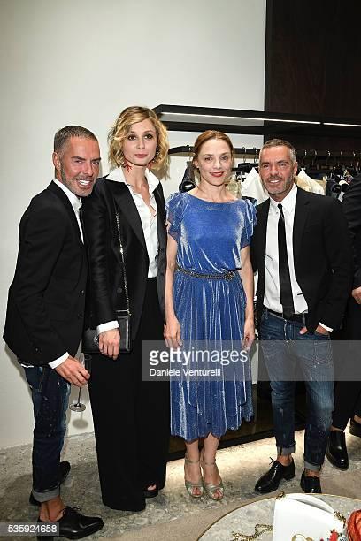 Anna Ferzetti Fabrizia Sacchi Dean and Dan Caten attend Dsquared2 instore cocktail on May 30 2016 in Rome Italy