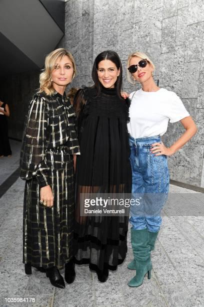 Anna Ferzetti Giulia Bevilacqua and Alessia Marcuzzi attend the Alberta Ferretti show during Milan Fashion Week Spring/Summer 2019 on September 19...