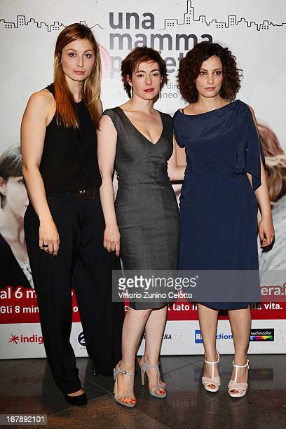 Anna Ferzetti Vanessa Compagnucci Alessia Barela attend Una mamma imperfetta photocall on May 2 2013 in Milan Italy
