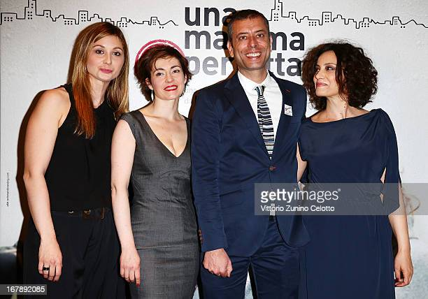 Anna Ferzetti Vanessa Compagnucci Ivan Cotroneo Alessia Barela attend Una mamma imperfetta photocall on May 2 2013 in Milan Italy