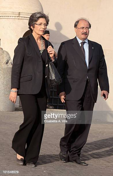 Anna Finocchiaro and Benedetto Adragna arrive at the Quirinale Palace to attend a Gala Dinner hosted by Italy's President Giorgio Napolitano on June...