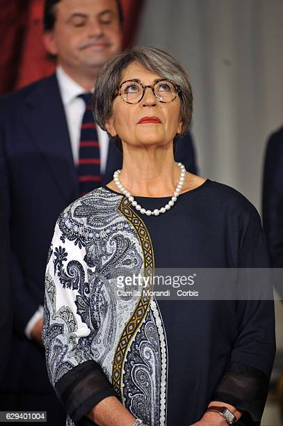Anna Finocchiaro Democratic leader in the Senate attends a swearing in ceremony for new Prime Minister Paolo Gentiloni at Quirinale Palace on...