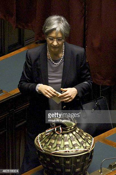 Anna Finocchiaro Democratic Party's leader in the Senate casts her ballot during the second vote for the election of the new Italian President 30...