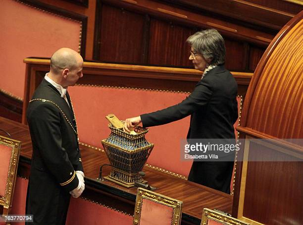 Anna Finocchiaro leader of Senate's Democratic Party votes for the president of Senate during the Italian Parliament inaugural session on March 15...
