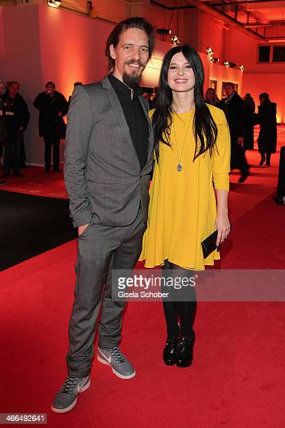 Anna Fischer and boyfriend Leonard Andreae attend the Goldene Kamera 2014 at Tempelhof Airport Hangar 7 on February 1 2014 in Berlin Germany