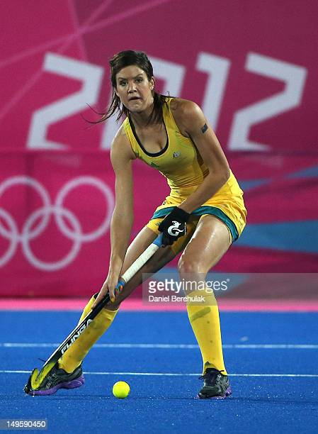 Anna Flanagan of Australia in action during the Women's Hockey Match between Germany and Australia on day 4 of the London 2012 Olympic Games at...