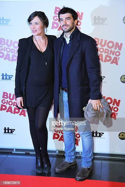 Anna Foglietta and her husband Paolo Sopranzetti attend the 'Buongiorno Papa' premiere at Cinema Adriano on March 13 2013 in Rome Italy