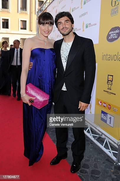 Anna Foglietta and Paolo Sopranzetti attend the 'David Di Donatello' movie awards at the Auditorium Conciliazione on May 6 2011 in Rome Italy