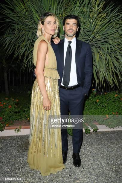 Anna Foglietta and Paolo Sopranzetti attend the Nastri D'Argento cocktail party in Taormina on June 29 2019 in Taormina Italy