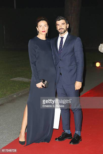 Anna Foglietta and Paolo Sopranzetti walk a red carpet at the charity dinner for Amatrice during the 11th Rome Film Festival at Auditorium Parco...