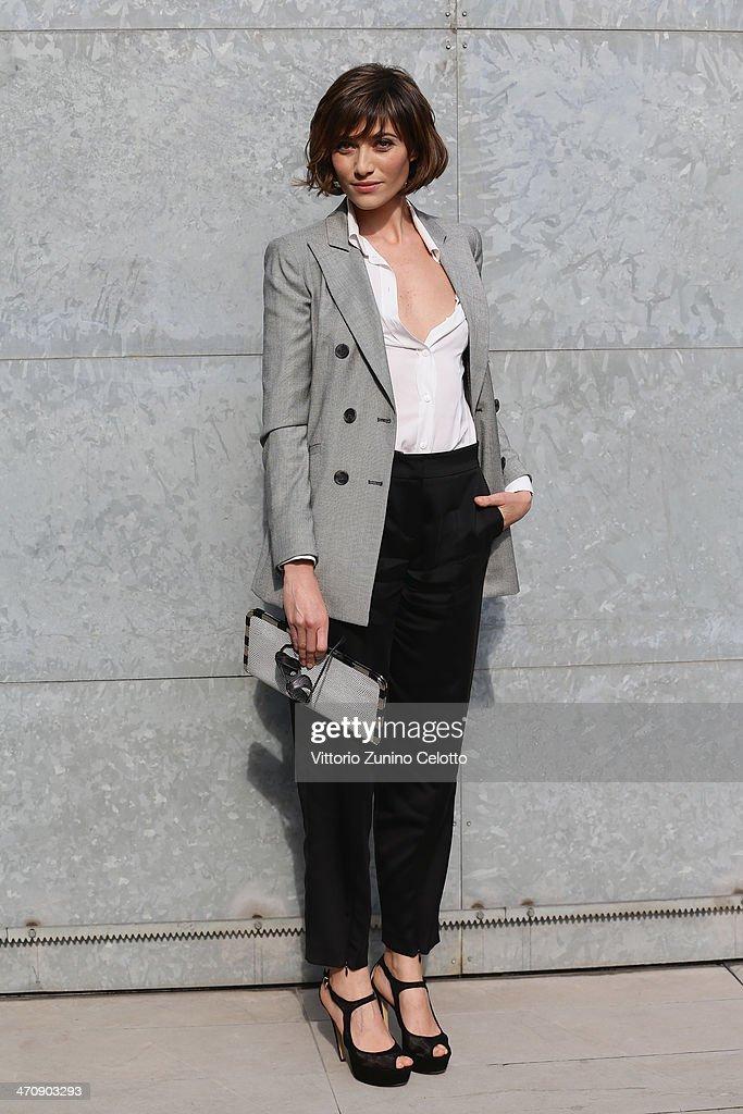 Anna Foglietta attends the Emporio Armani show as part of Milan Fashion Week Womenswear Autumn/Winter 2014 on February 21, 2014 in Milan, Italy.