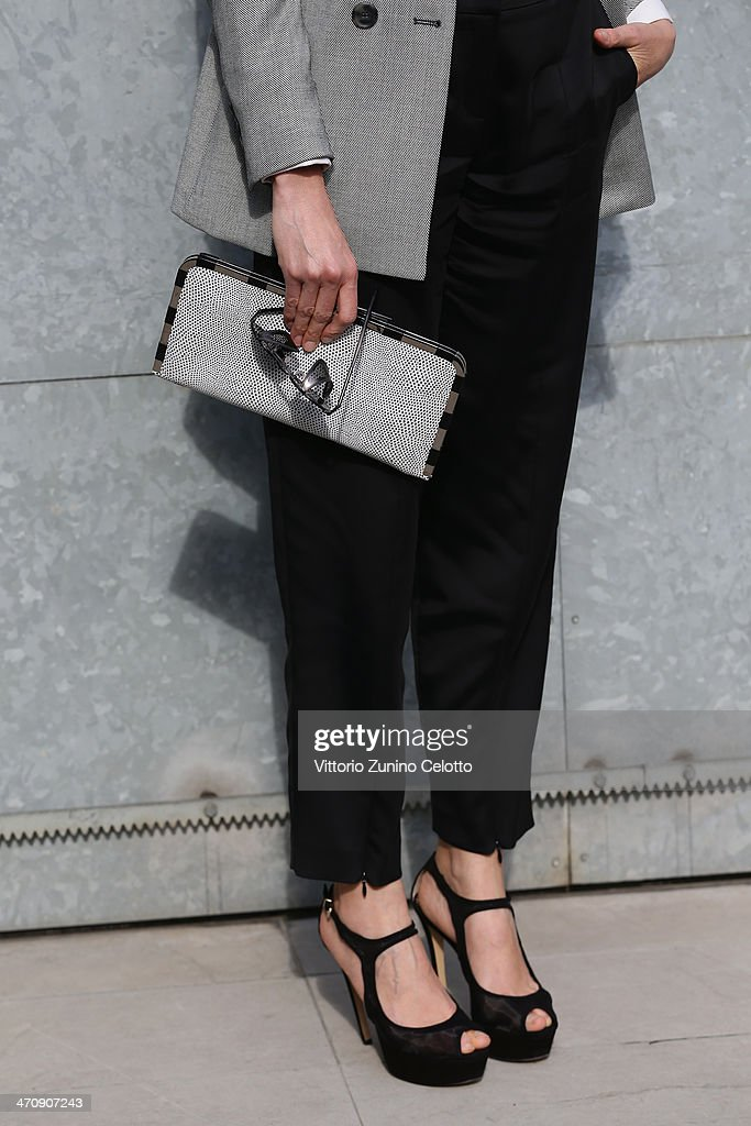 Anna Foglietta (detail) attends the Emporio Armani show as part of Milan Fashion Week Womenswear Autumn/Winter 2014 on February 21, 2014 in Milan, Italy.