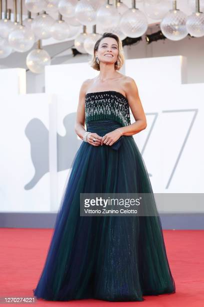 """Anna Foglietta walks the red carpet ahead of the Opening Ceremony and the """"Lacci"""" red carpet during the 77th Venice Film Festival at on September 02,..."""